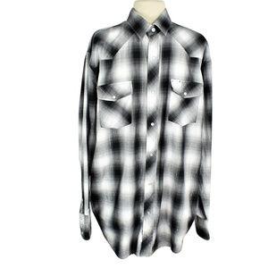 Roper Mens 2XL Plaid Western Shirt Metallic Rodeo